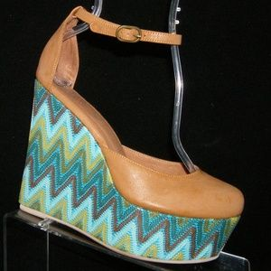Jeffrey Campbell 'Bette' brown leather wedges 8